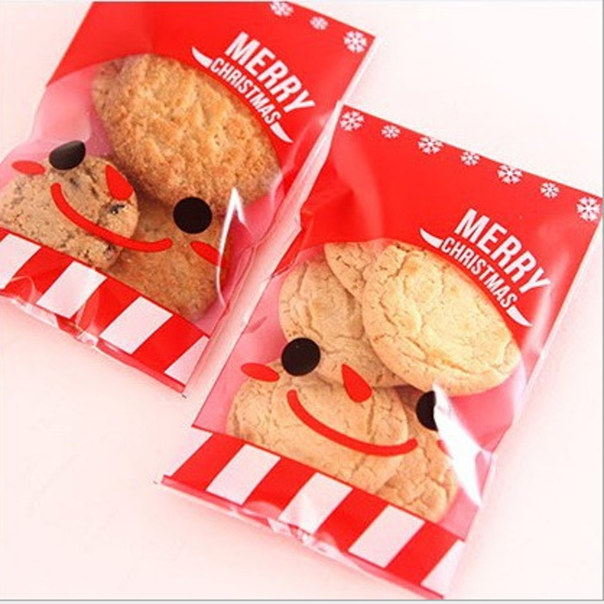 100Pcs Xmas Santa Cello Cellophane Cookie Candy Treat Bags Self Adhesive Party