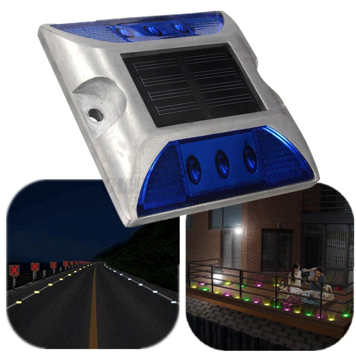 6 led aluminum wand solar lampe garten bodenstrahler treppen au en leuchte licht ebay. Black Bedroom Furniture Sets. Home Design Ideas