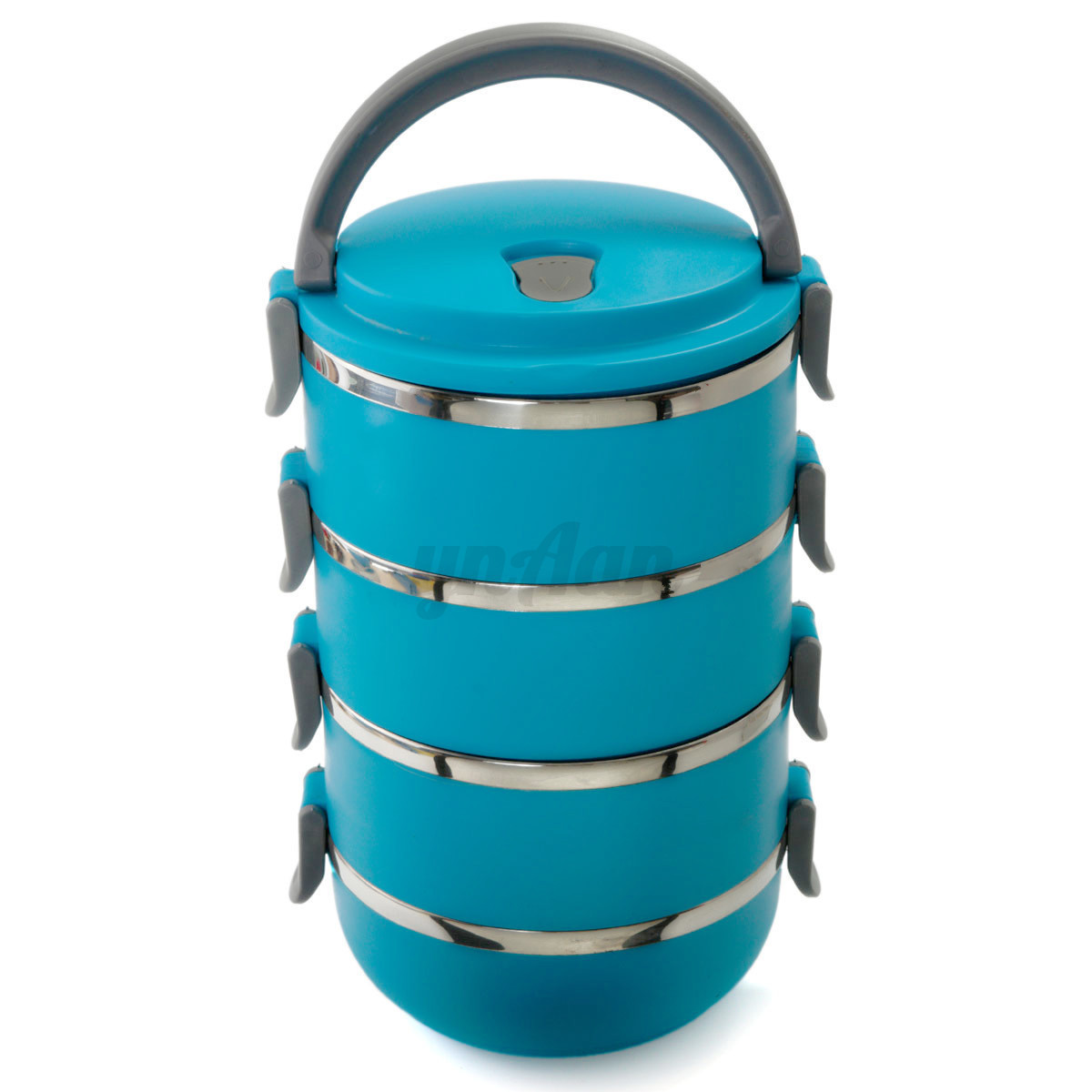 four layer stainless steel insulation thermal lunch box container with handle ebay. Black Bedroom Furniture Sets. Home Design Ideas