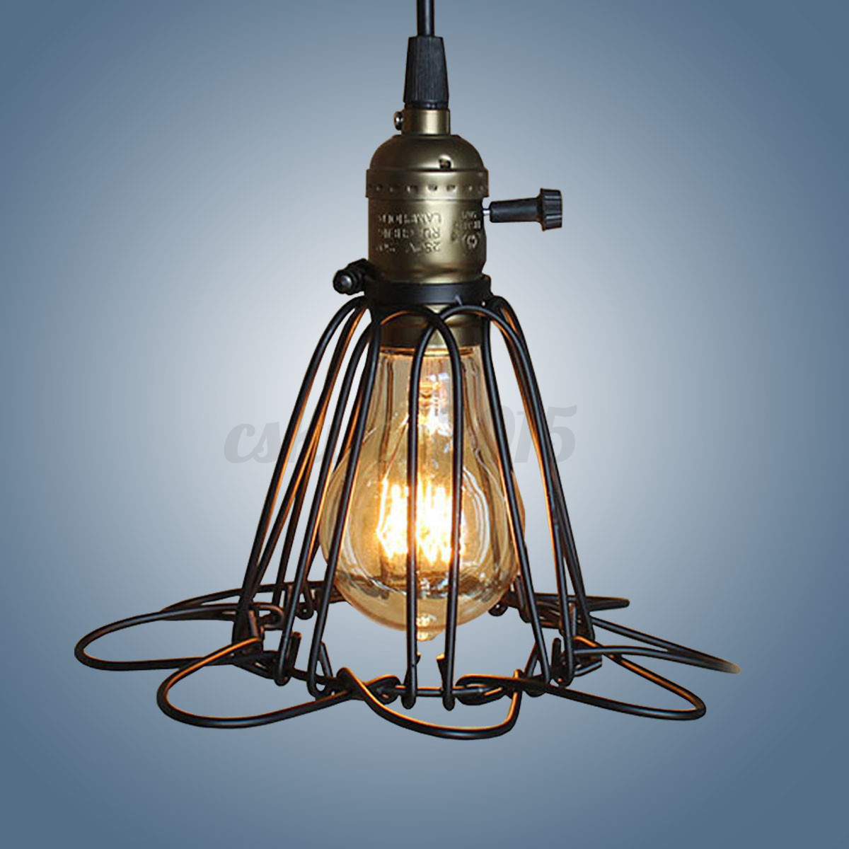 Iron Wire Cage Lampshade Guard Chandelier Retro Black Bar Coffee ...