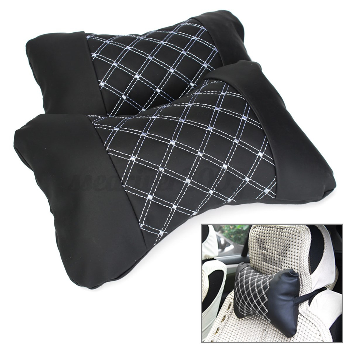 1 Pair PU Leather Car Seat Head Neck Rest Cushion Pillow Headrest With Insert