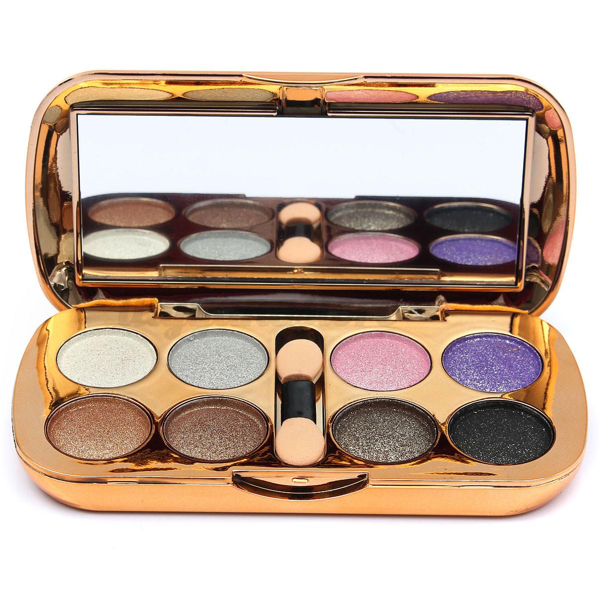 8 Color Professional Eyeshadow Matte Shimmer Palette & Cosmetic Brush Makeup Set