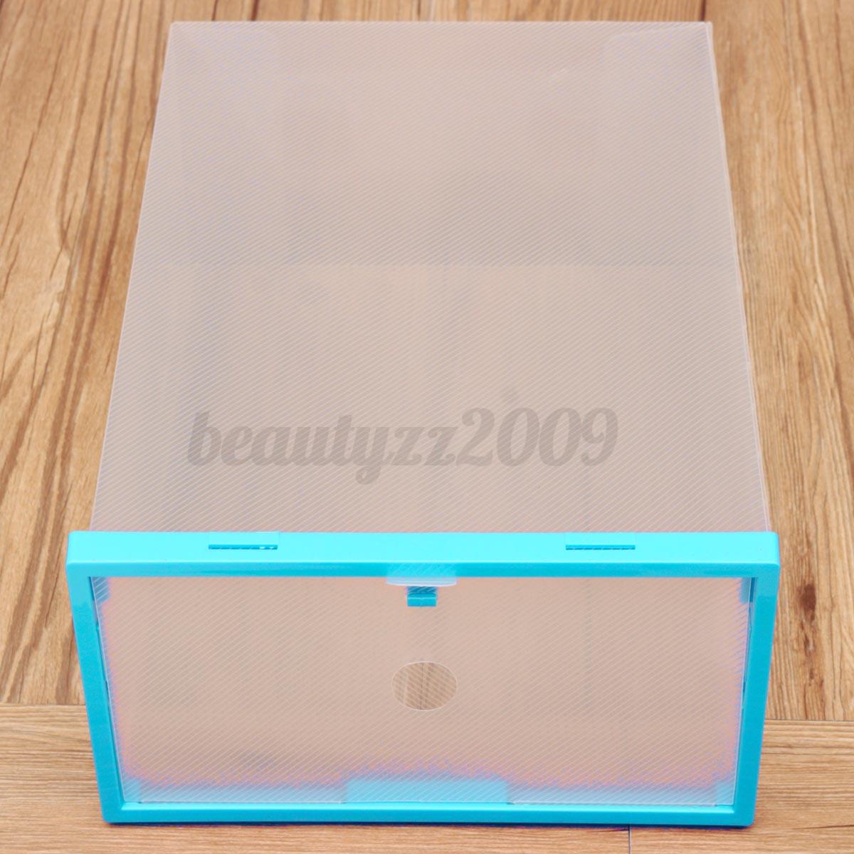 Scatole Plastica Trasparente per scarpe - Impilabile Case Stoccaggio Custodia  eBay