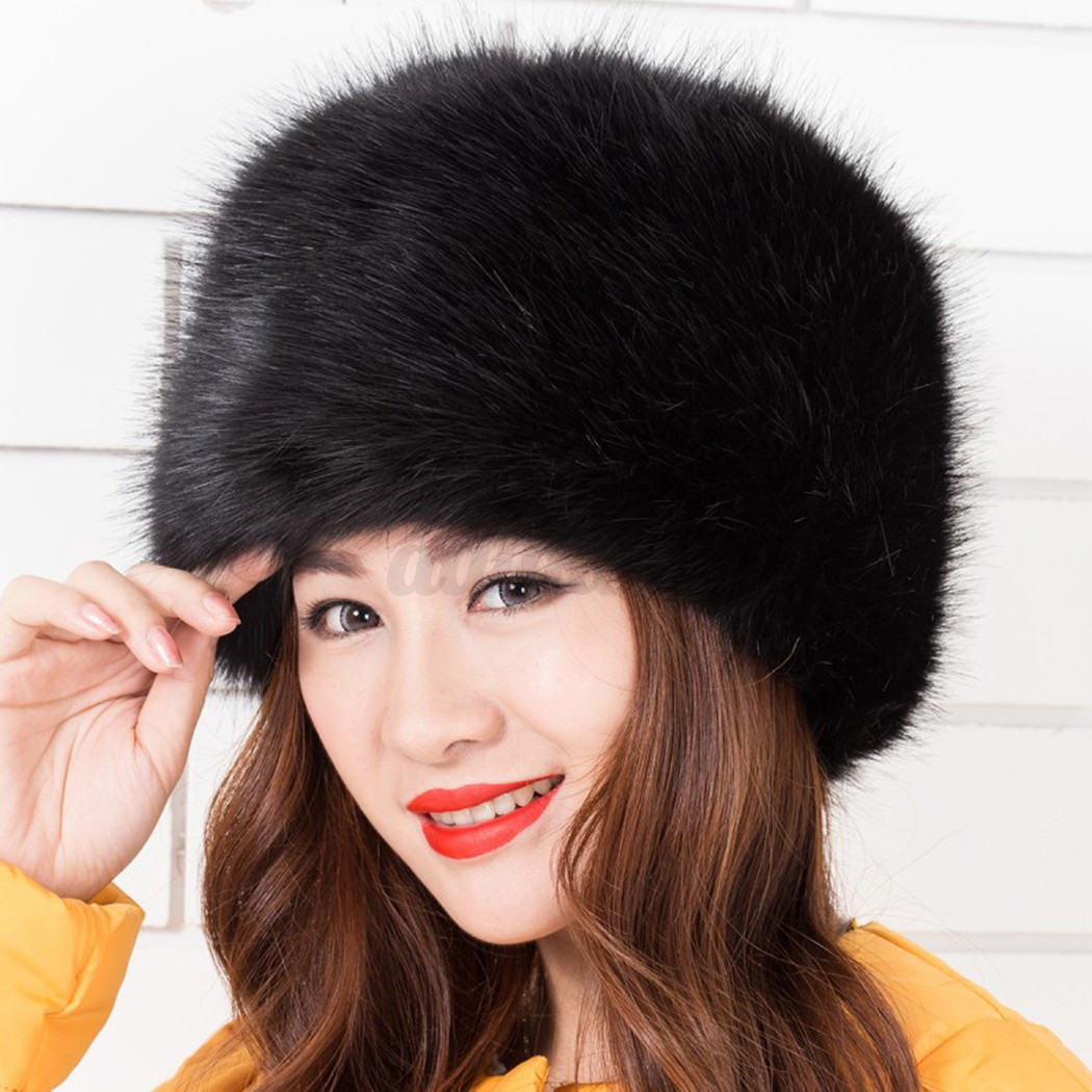 womens thick pile faux fur russian hat animal