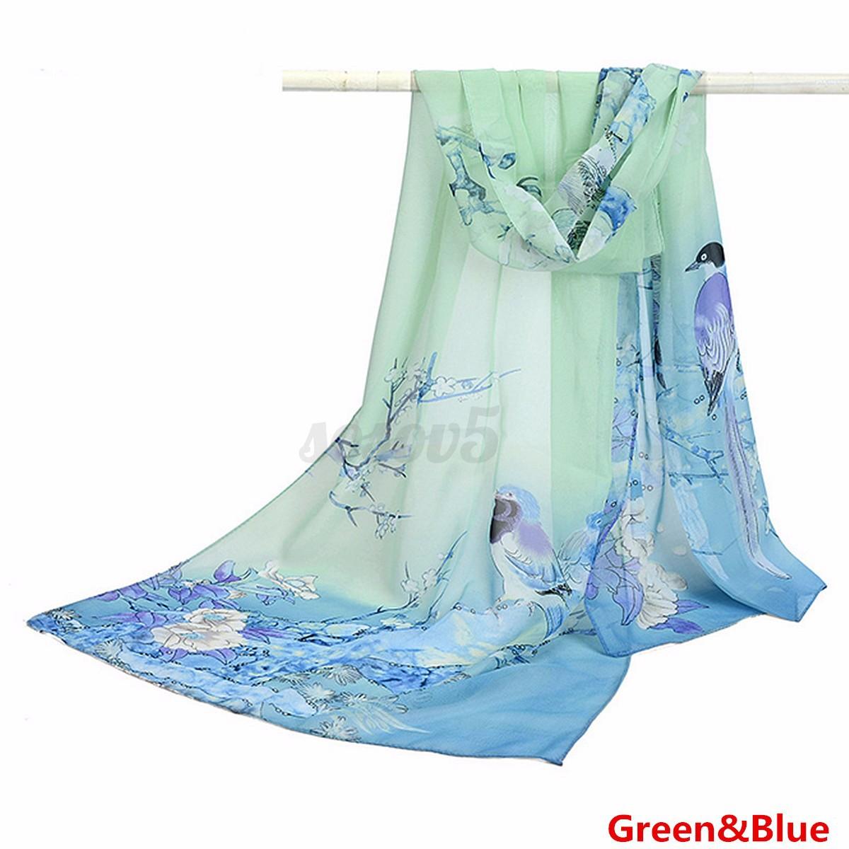 Women Lady Amazing Long Chiffon Stole Shawl Flower Printed Wrap Soft Robe Scarf