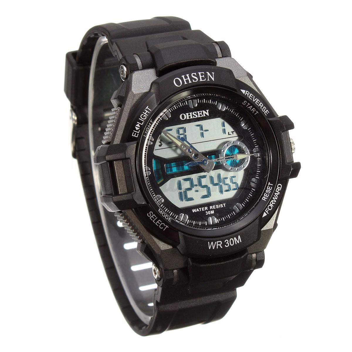 ohsen lcd digital montre quartz sport alarm chrono homme. Black Bedroom Furniture Sets. Home Design Ideas