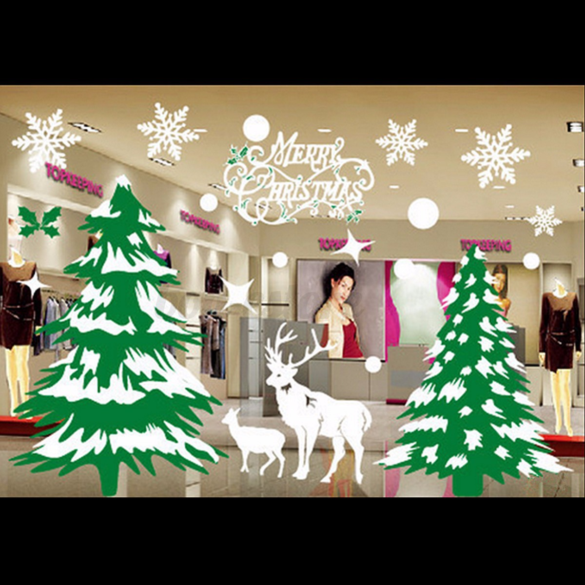 New christmas decals decor art home removable mural show for Christmas wall mural