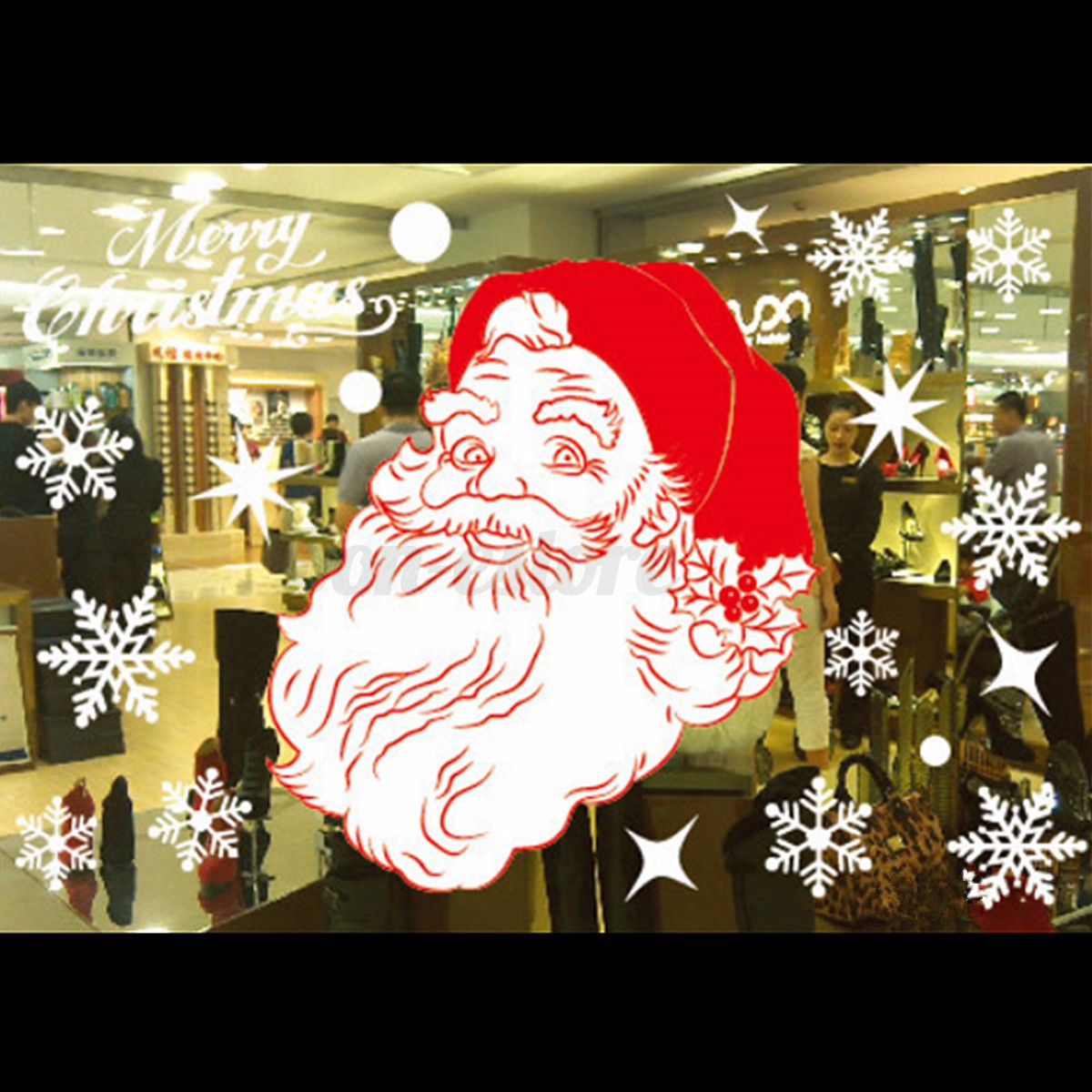 New christmas decals decor art home removable mural show for Christmas window mural