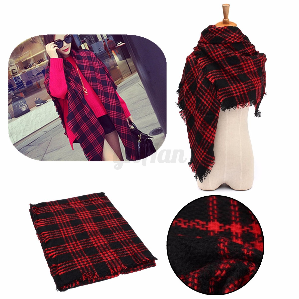 echarpe en laine cachemire ch le foulard cache nez tartan cossais hiver femme ebay. Black Bedroom Furniture Sets. Home Design Ideas