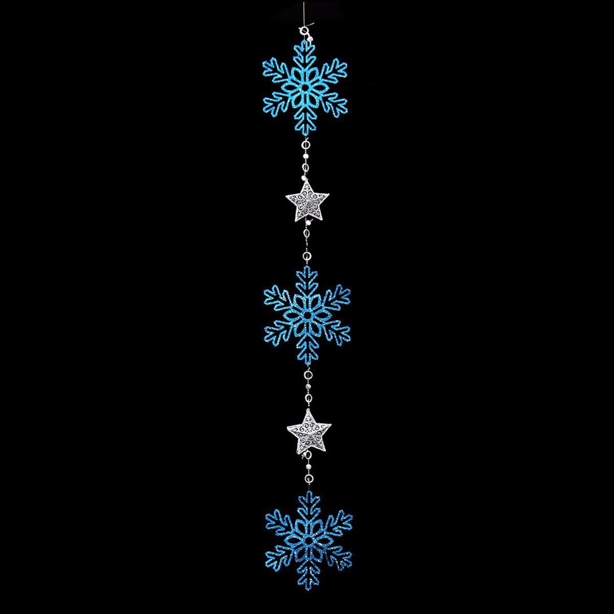 Glitter snowflake garland ornaments christmas tree holiday
