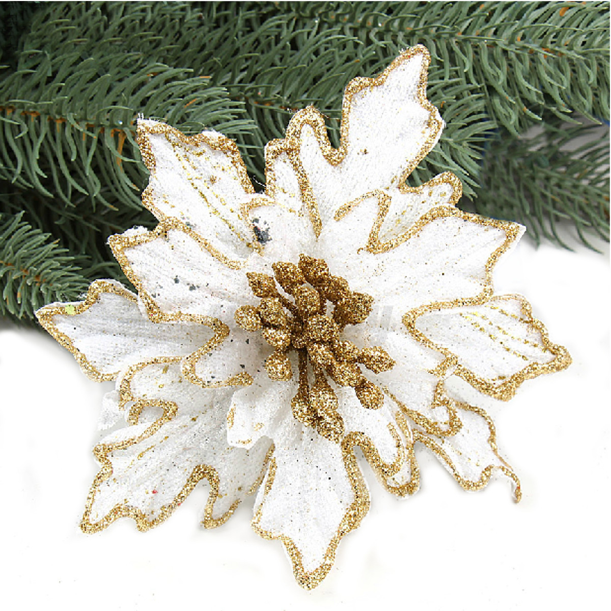 Artificial flower xmas party wedding home ornaments for Engagement christmas tree ornaments