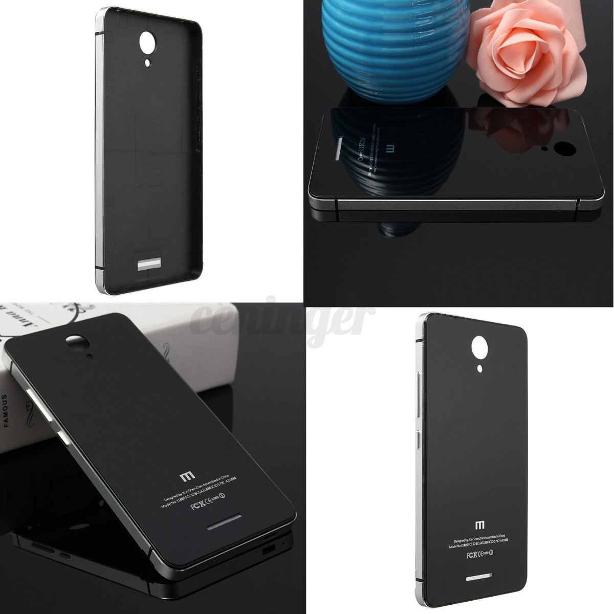 Luxury Metal Frame +Tempered Glass Hard Back Cover Case For Xiaomi Redmi Note 2