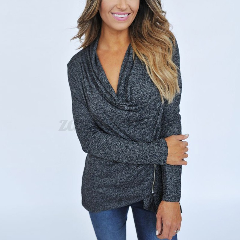 Ladies Zip Open Irregular Cardigan Casual Top Jumper Cowl Neck Ruffle Shirt Coat