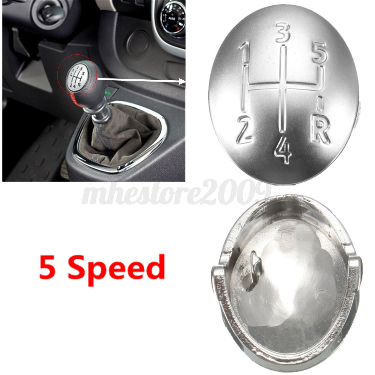 5 Speed Gear Shift Knob Cap Cover Insert For Renault Clio