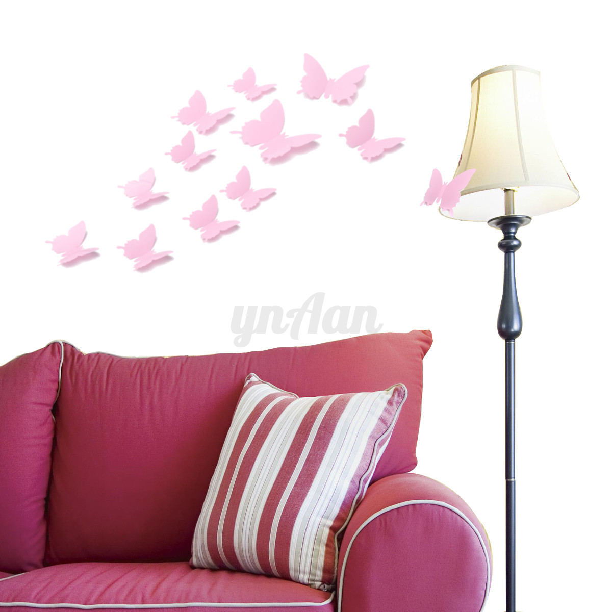 12pc diy 3d papillon color autocollant sticker mural. Black Bedroom Furniture Sets. Home Design Ideas