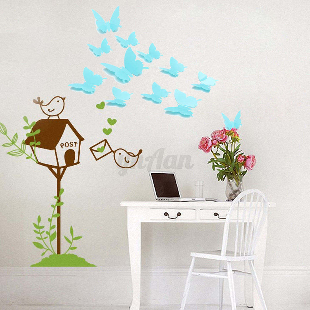 12pc diy 3d papillon color autocollant sticker mural adh sif d co salon chambre ebay. Black Bedroom Furniture Sets. Home Design Ideas