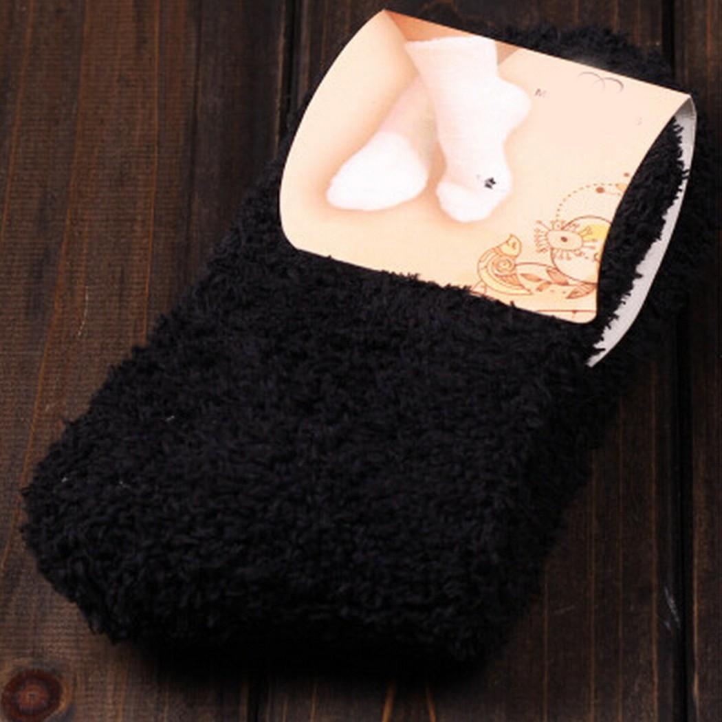 Womens Solid Fuzzy Cozy Warm Ankle Socks Winter Casual Soft Lady Girls Hosiery