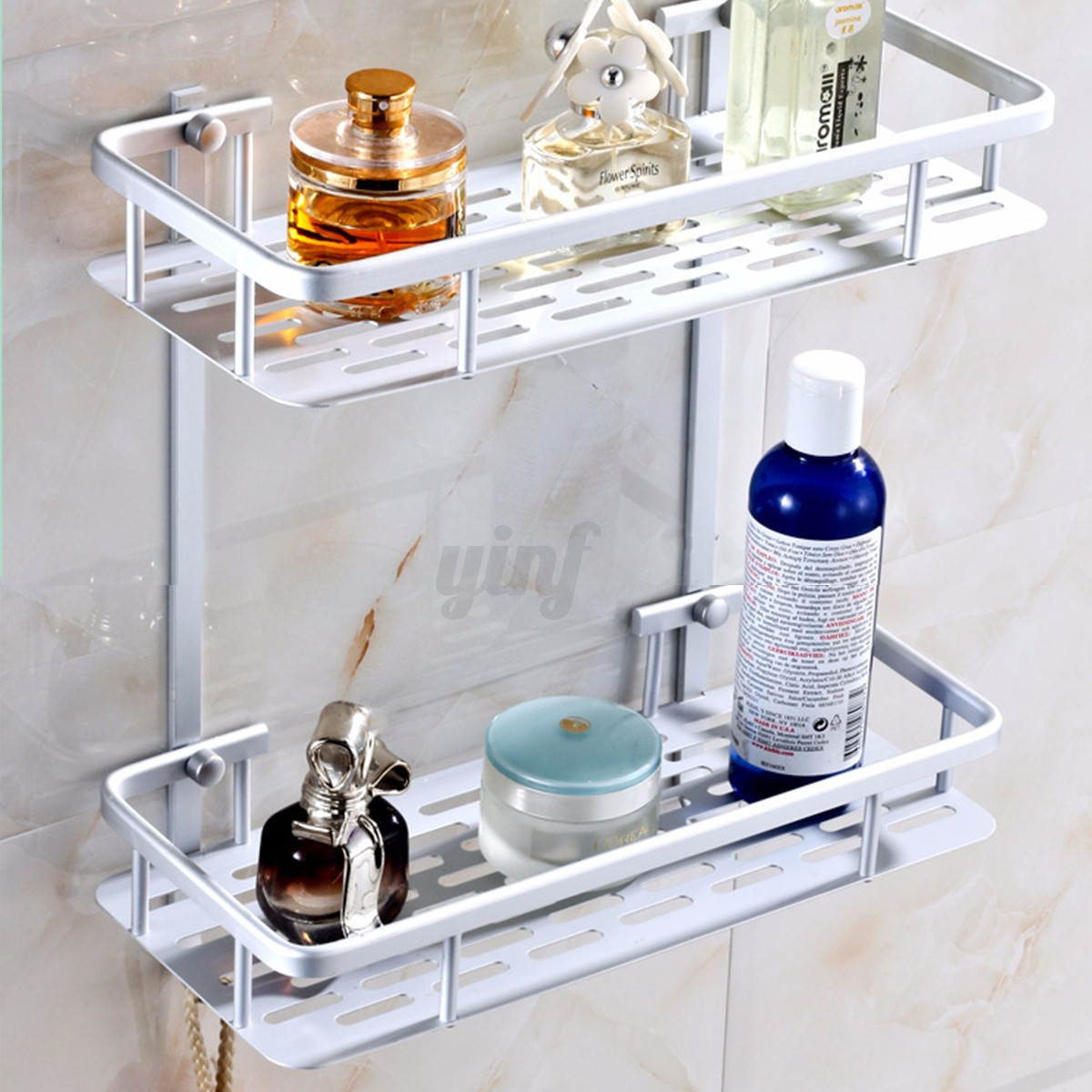 Alumimum 3 tier bathroom shower storage shelf caddy basket - Bathroom storage baskets shelves ...