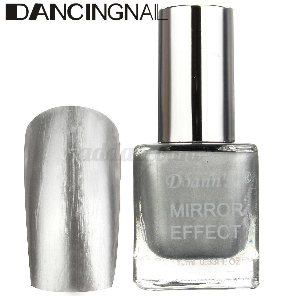 Mirror Effect Gel Nail Polish: 10ML Bling Metallic Mirror Effect Soak Off Nail Art