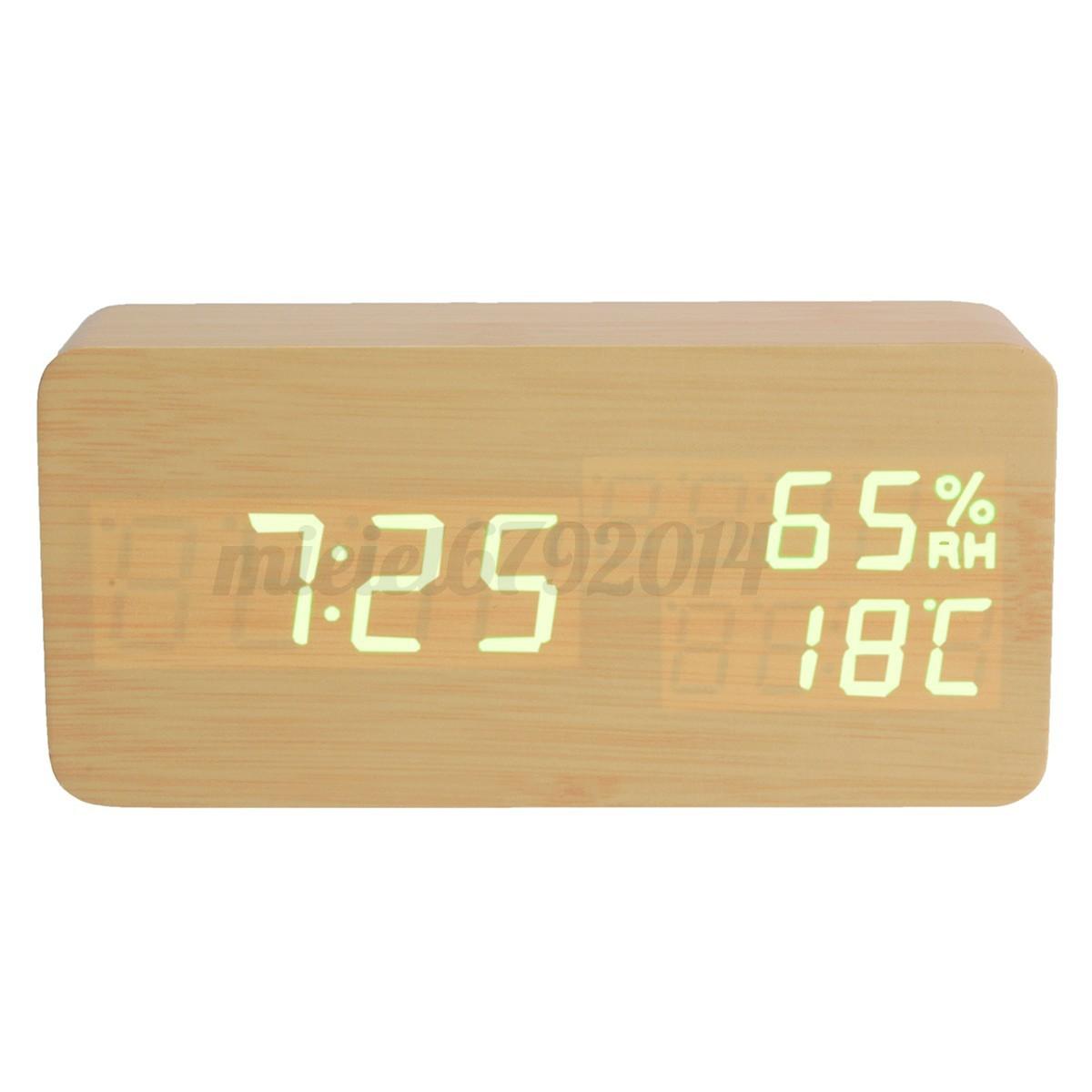 digitaler led wecker thermometer kalender wooden holz alarm uhr temperatur datum ebay. Black Bedroom Furniture Sets. Home Design Ideas