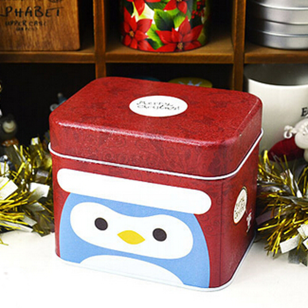 Christmas theme tin square iron case cookies candy