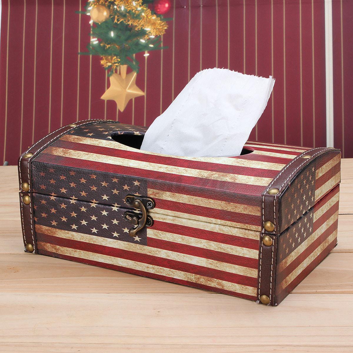 R tro drapeau uk us rectangle pu cuir bo te mouchoirs tissu papier maison d co ebay - Boite a mouchoirs maison ...