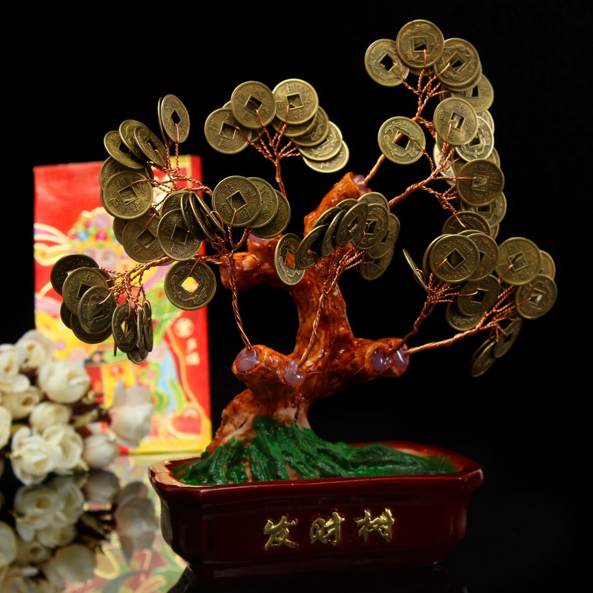 chinese money tree coin buddhist blessed feng shui fortune lucky home decor ebay. Black Bedroom Furniture Sets. Home Design Ideas