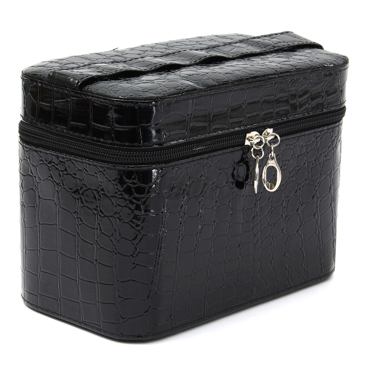 maquillage sac cuir croco bo te coffre pochette poche rangement trousse voyage ebay. Black Bedroom Furniture Sets. Home Design Ideas