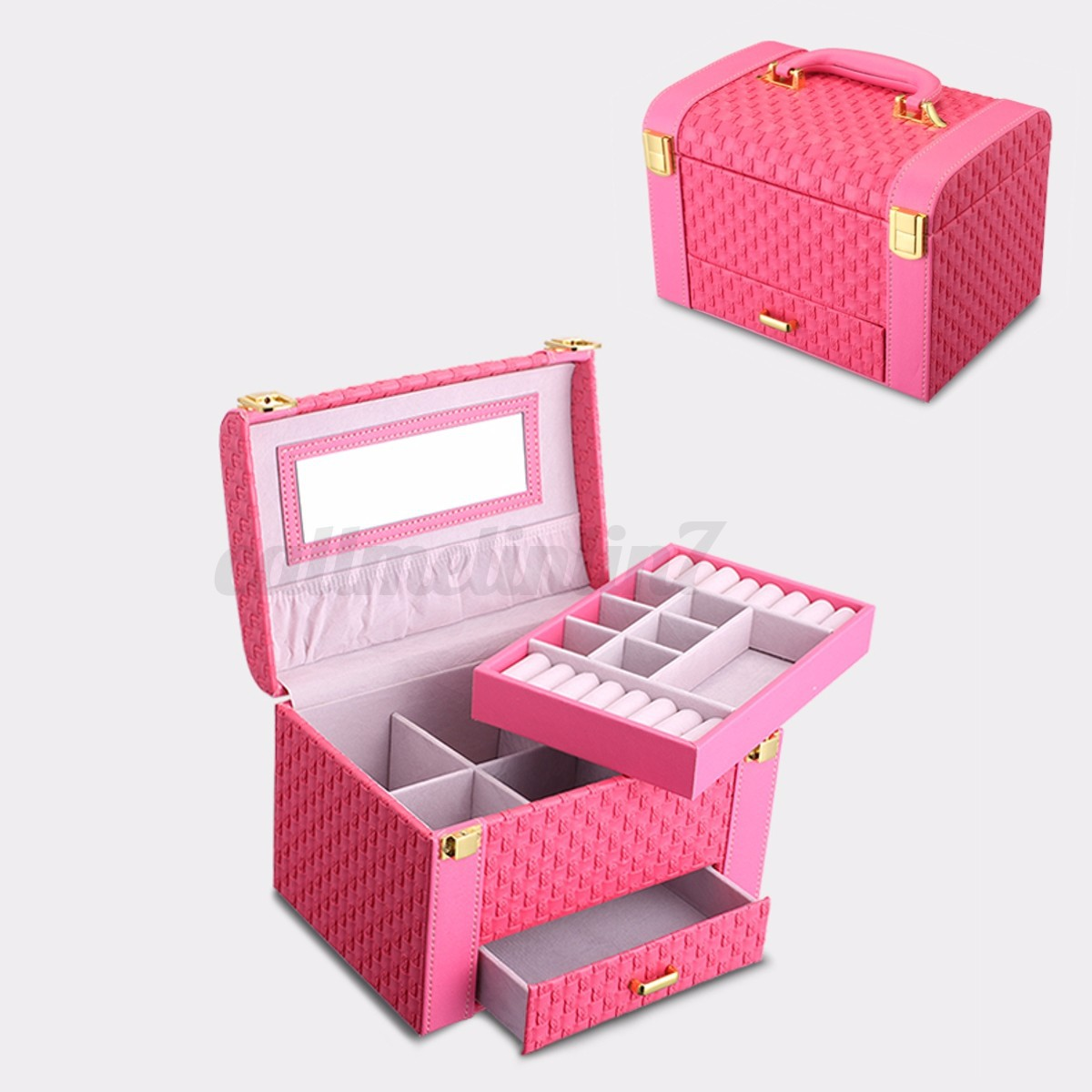 coffret bo te pr sentoir pu cuir bijoux bague collier rangement cadeau miroir ebay. Black Bedroom Furniture Sets. Home Design Ideas