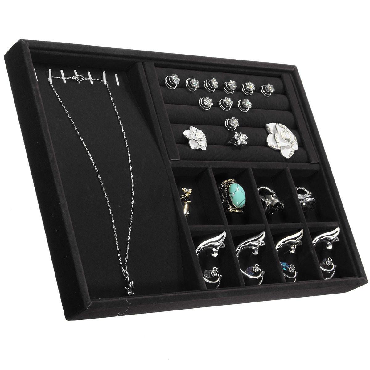 Velvet ring necklace jewelry display holder storage tray for Velvet jewelry organizer trays