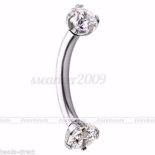 16G-316L-Crystal-Rhinestone-Threaded-Barbell-Eyebrow-Ring-Piercing-Jewelry-Gifts