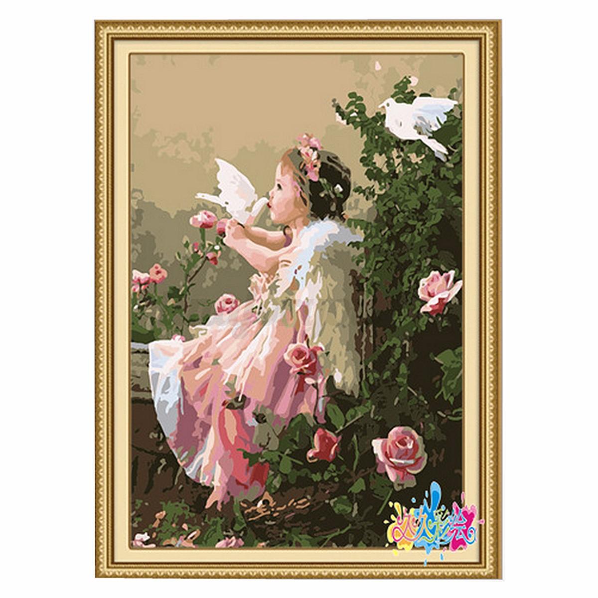 faire soi m me peinture par num ro 16 20 kit angel ballet beach sur toile d coration acrylique. Black Bedroom Furniture Sets. Home Design Ideas