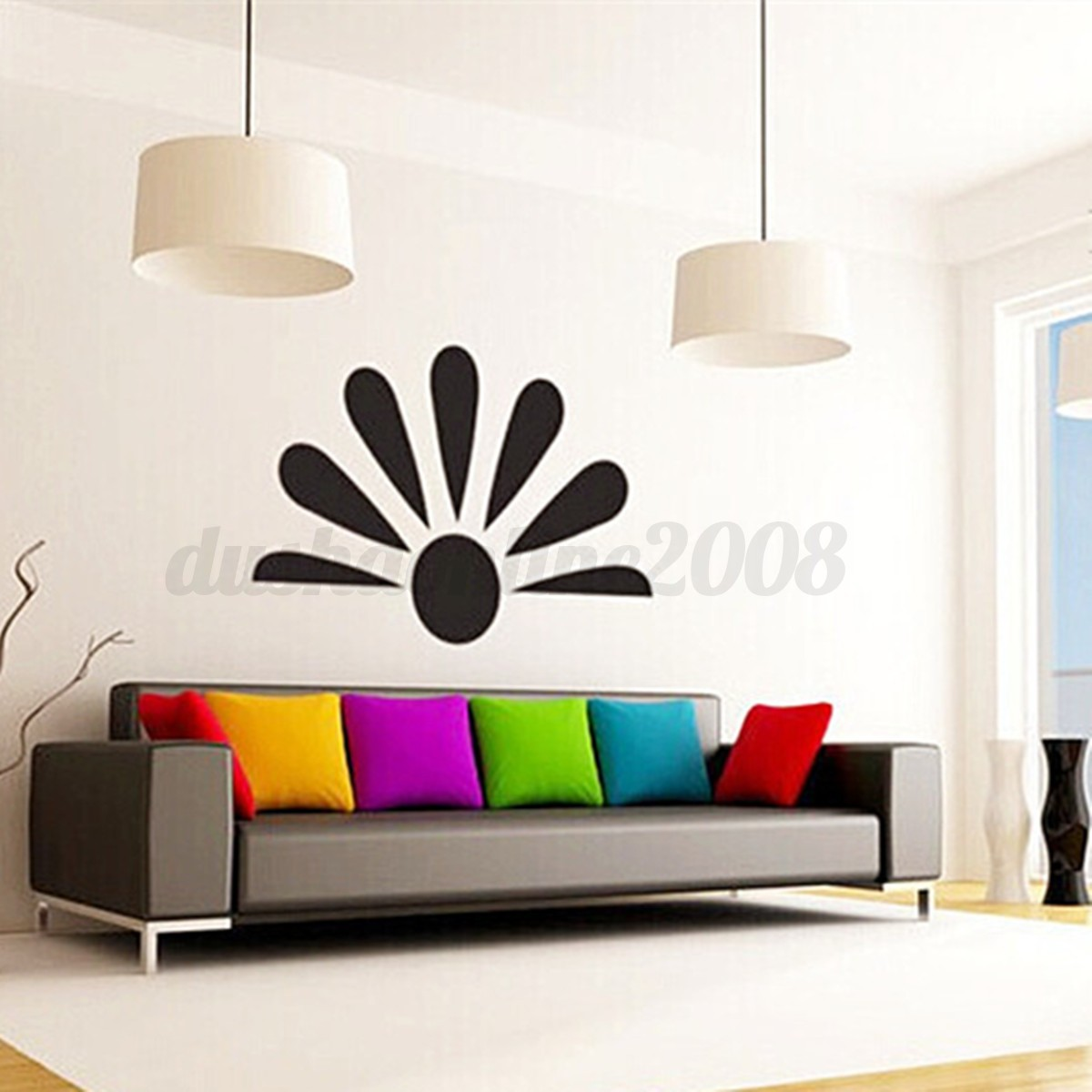 8pcs epanouissement diy autocollant mural miroir adh sif art d cor mur chambre ebay. Black Bedroom Furniture Sets. Home Design Ideas