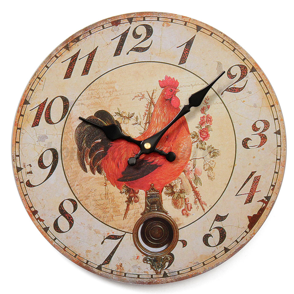 large vintage rustic wooden wall clock kitchen antique