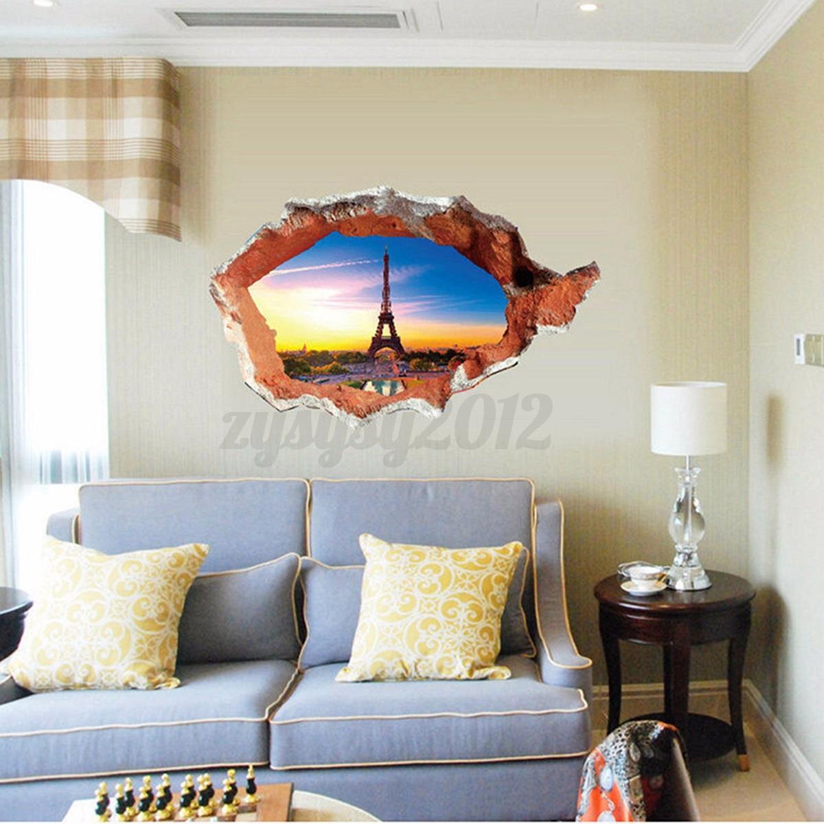 Cartel de 3d de torre de habitaci n mar coche vinilo for Decoracion hogar 3d