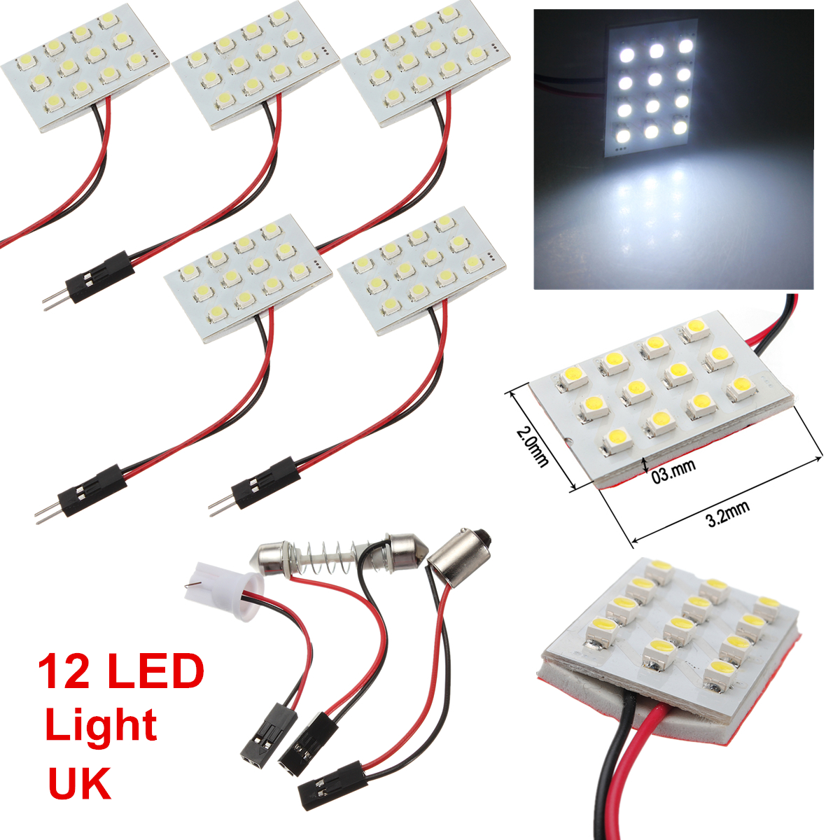t10 ba9s white cob 24 smd leds car interior number panel dome festoon light 12v ebay. Black Bedroom Furniture Sets. Home Design Ideas