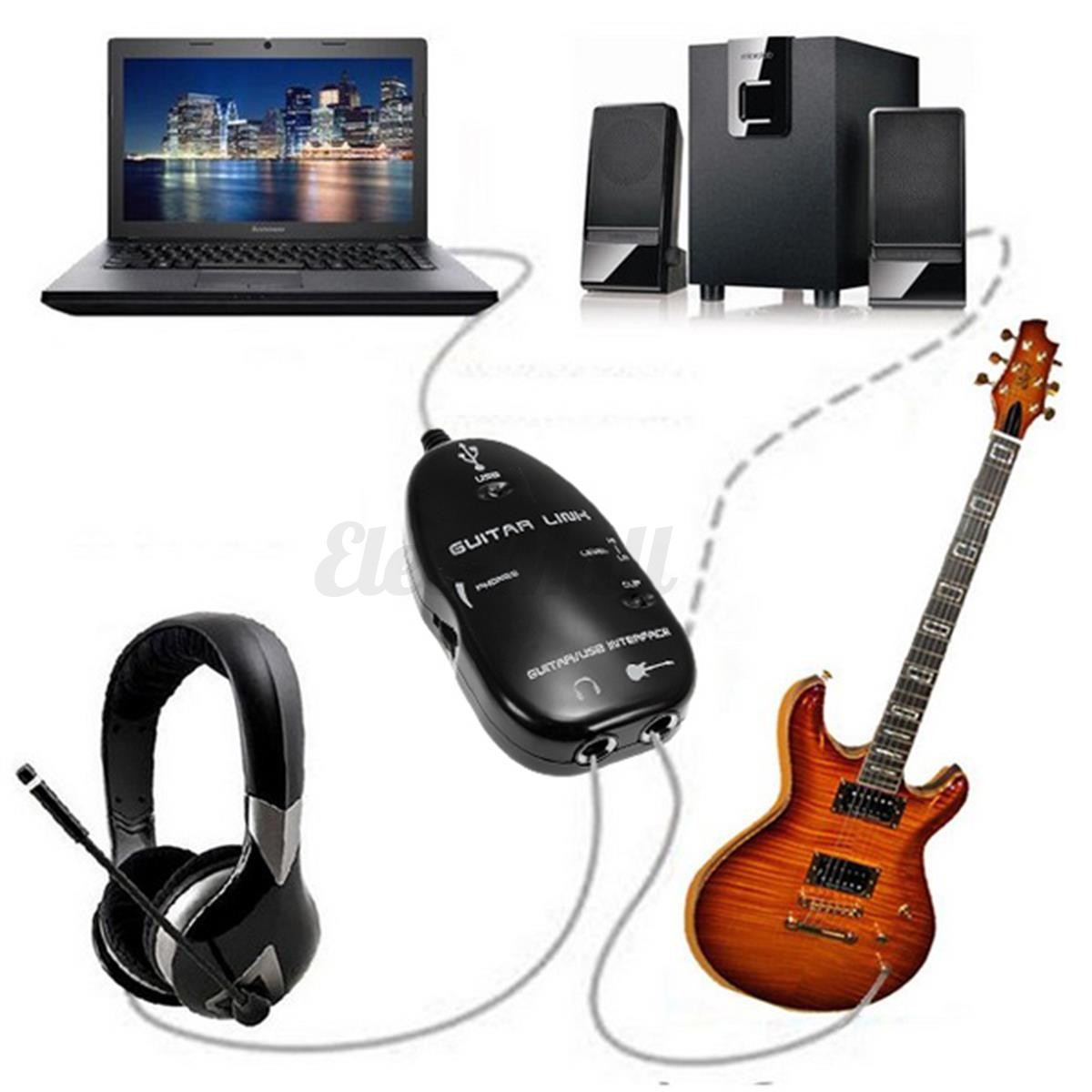 usb to electric guitar interface link audio cable music recording amp adapter cd ebay. Black Bedroom Furniture Sets. Home Design Ideas