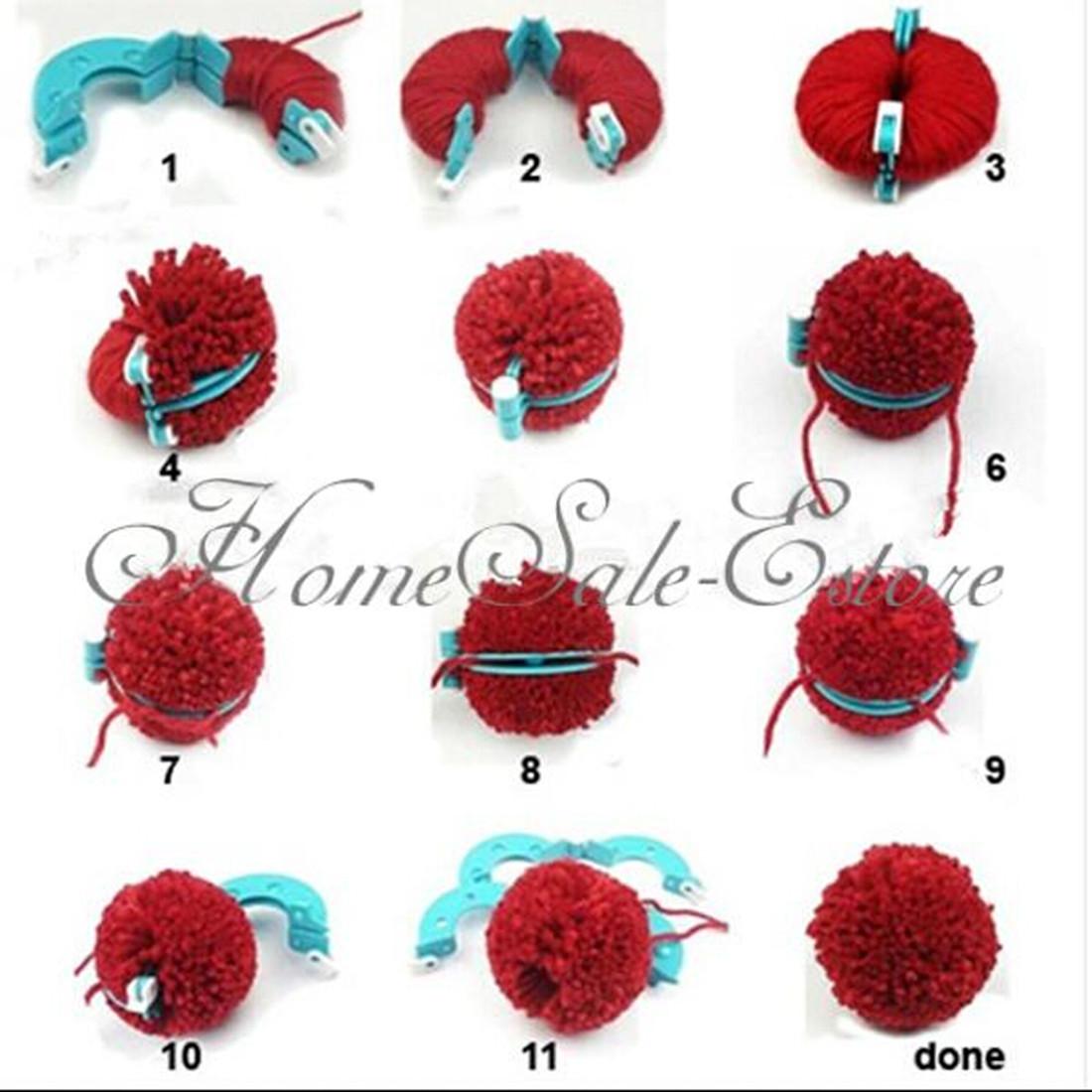 pompon set 8 appareil bommel pom pom maker clover laine. Black Bedroom Furniture Sets. Home Design Ideas