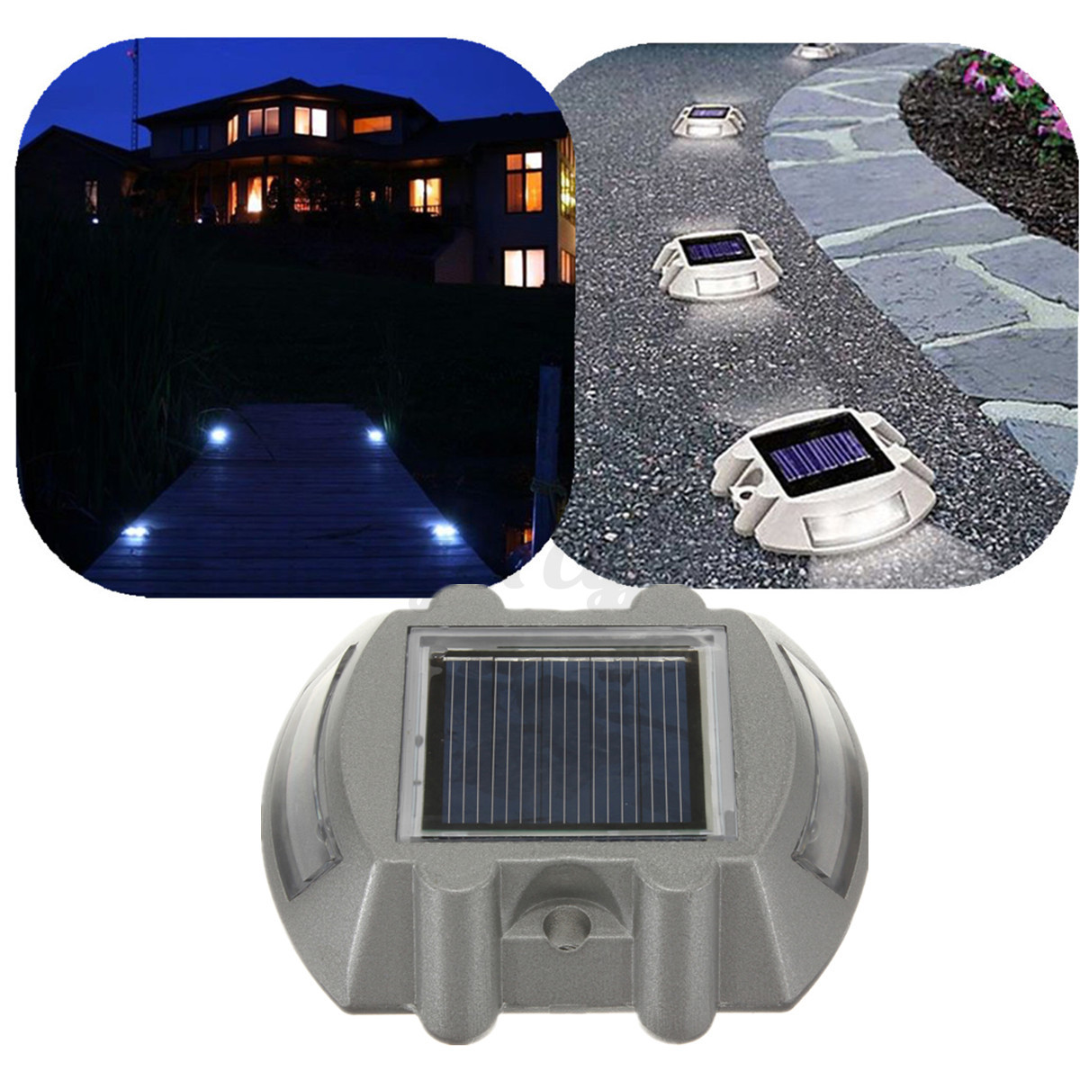 Solar sun powered 6 led road driveway pathway path light for Outdoor led path lights