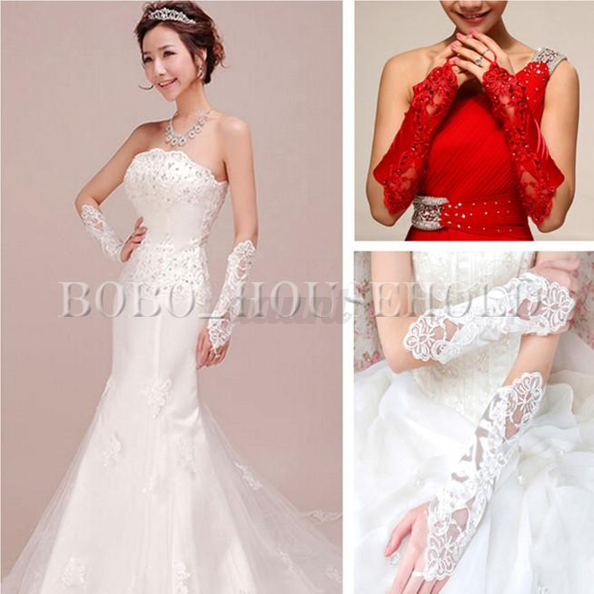 y Bride Wedding Party Dress Fingerless Pearl Lace Satin