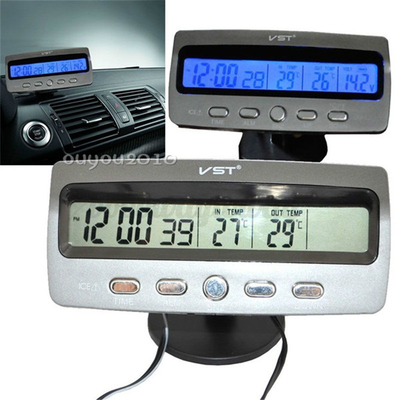lcd kfz auto uhr anzeige thermometer digital spannungsmesser alarm innen au en ebay. Black Bedroom Furniture Sets. Home Design Ideas