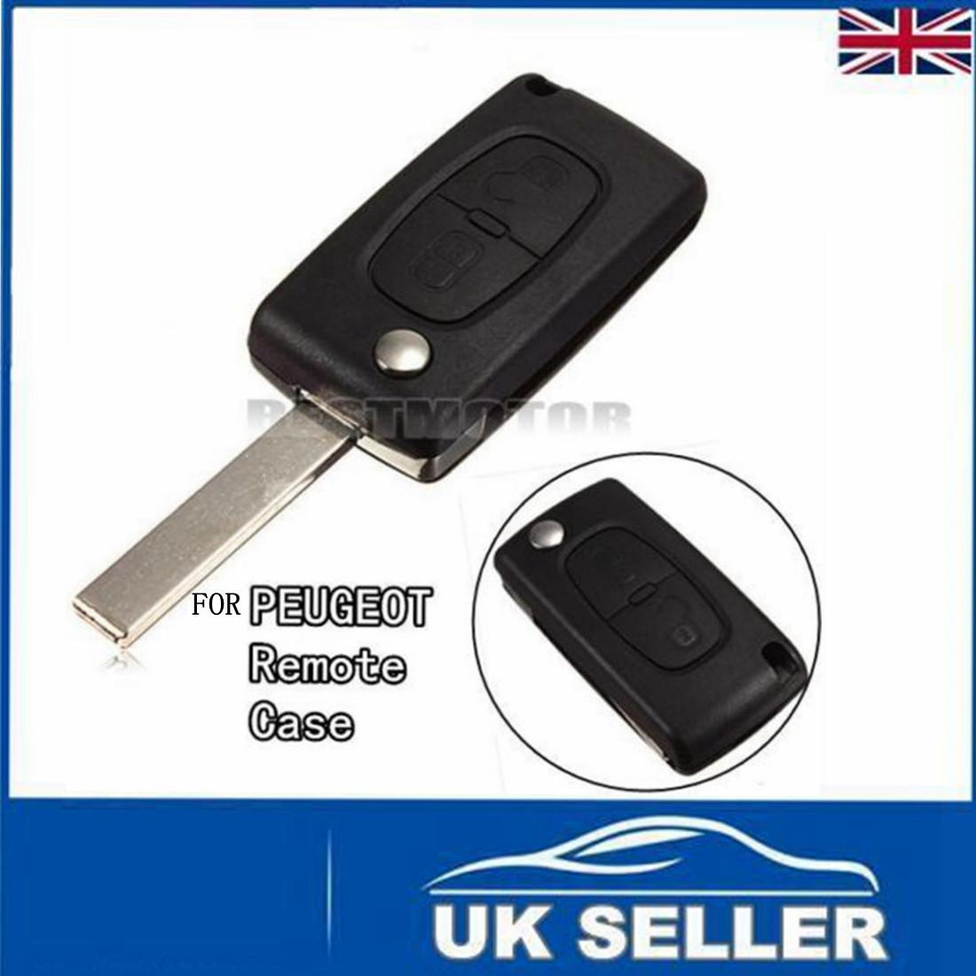 2 buttons remote flip key shell case fob fit for peugeot 207 307 308 uncut blade ebay. Black Bedroom Furniture Sets. Home Design Ideas