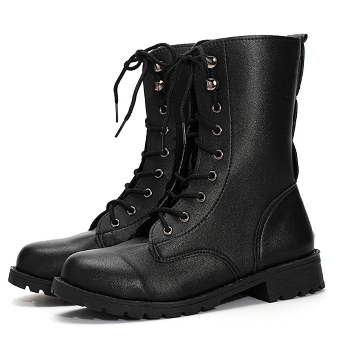 bottine bottes cuir noir punk martin chaussure motard lacet arm e montante femme ebay. Black Bedroom Furniture Sets. Home Design Ideas