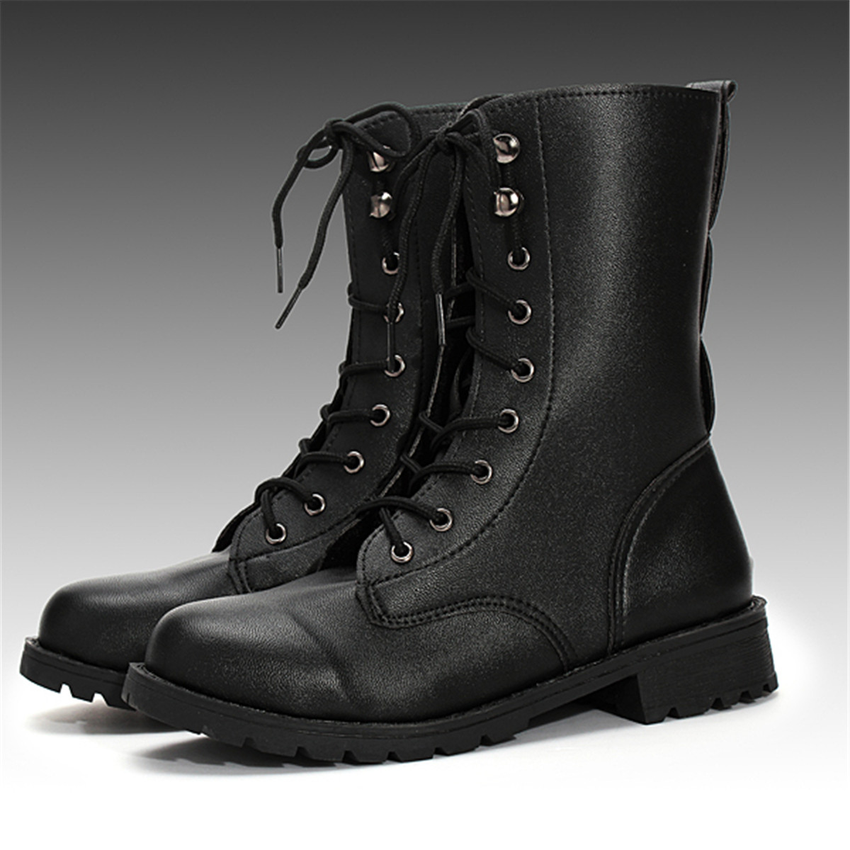 bottes martin bottines chaussures motard lacets arm e montantes punk noir femmes ebay. Black Bedroom Furniture Sets. Home Design Ideas