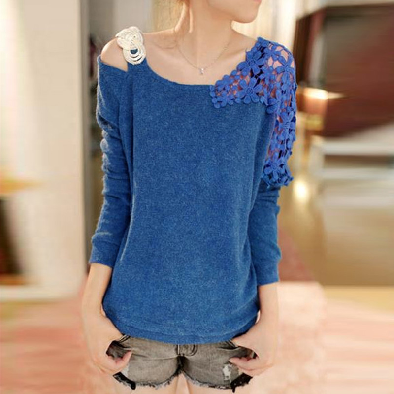 New Fashion Women's Vintage Long Sleeve Casual Tops Lace Shirt Blouse Sweater
