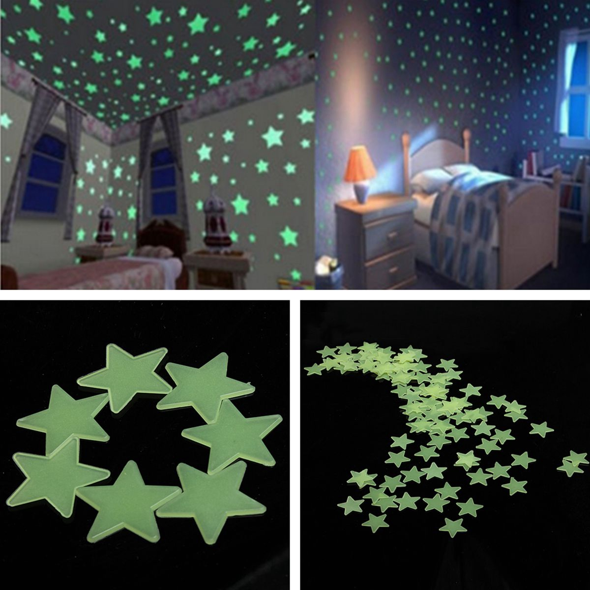 Bedroom Ceiling Star Lights Dark Brown Carpet Bedroom Ideas Vintage Black And White Bedroom Ideas Native American Bedroom Decorating Ideas: 100 Glow In The Dark Stars Shape Stickers For Home Ceiling