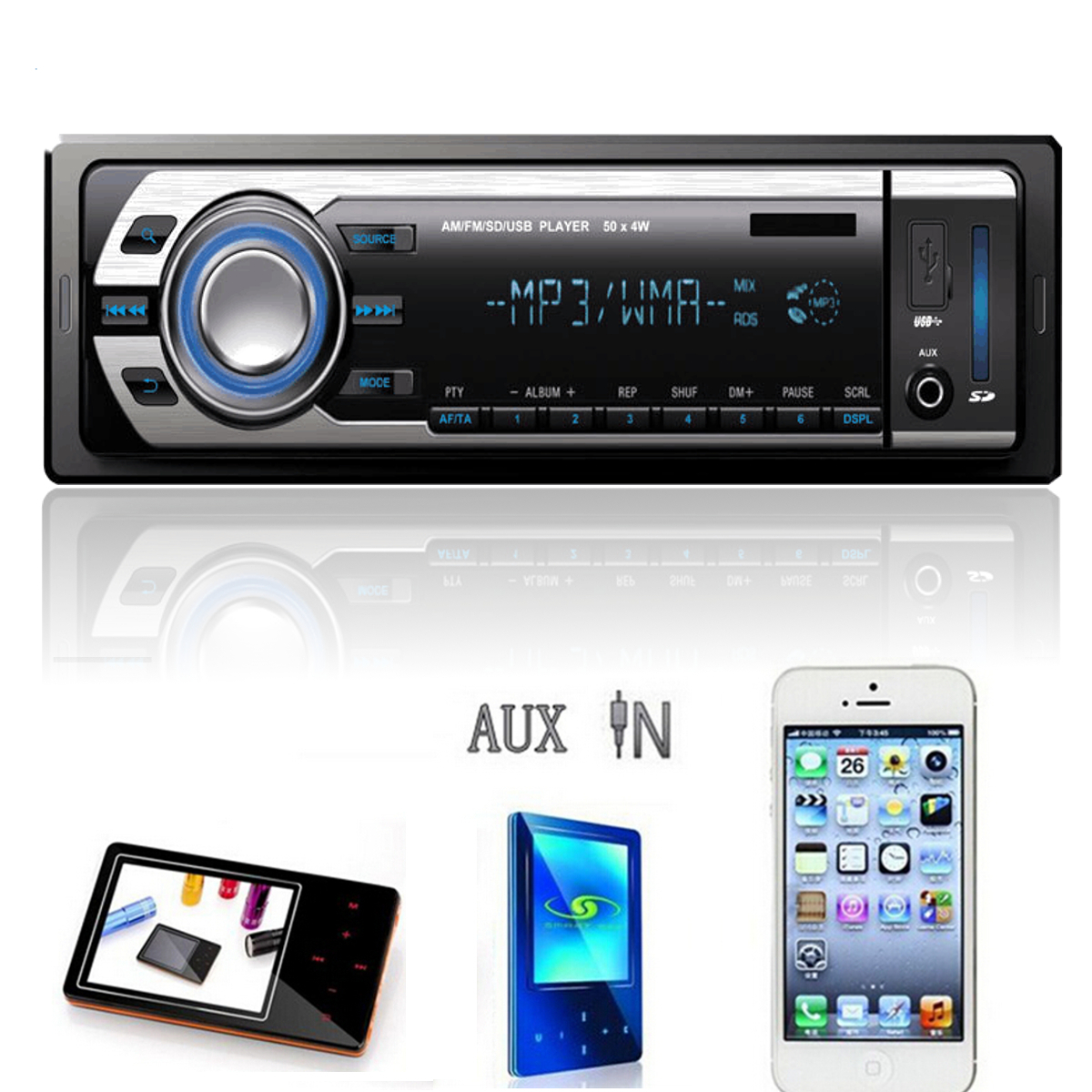 voiture autoradio audio st r o mp3 r cepteur input fm usb sd aux t l commande ebay. Black Bedroom Furniture Sets. Home Design Ideas