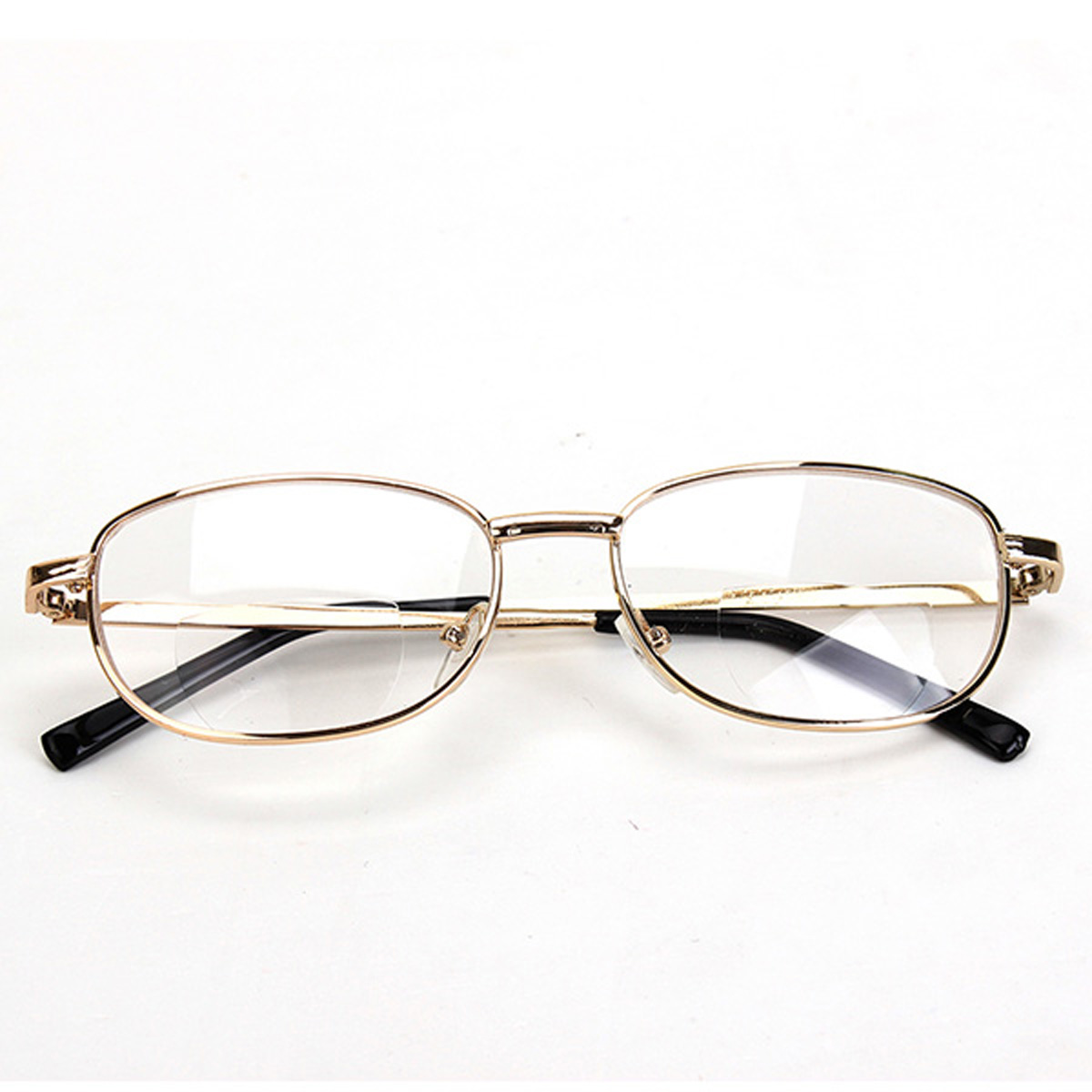 fashion bifocal lens rimmed mens reading glasses gold metal frame eyeglasses