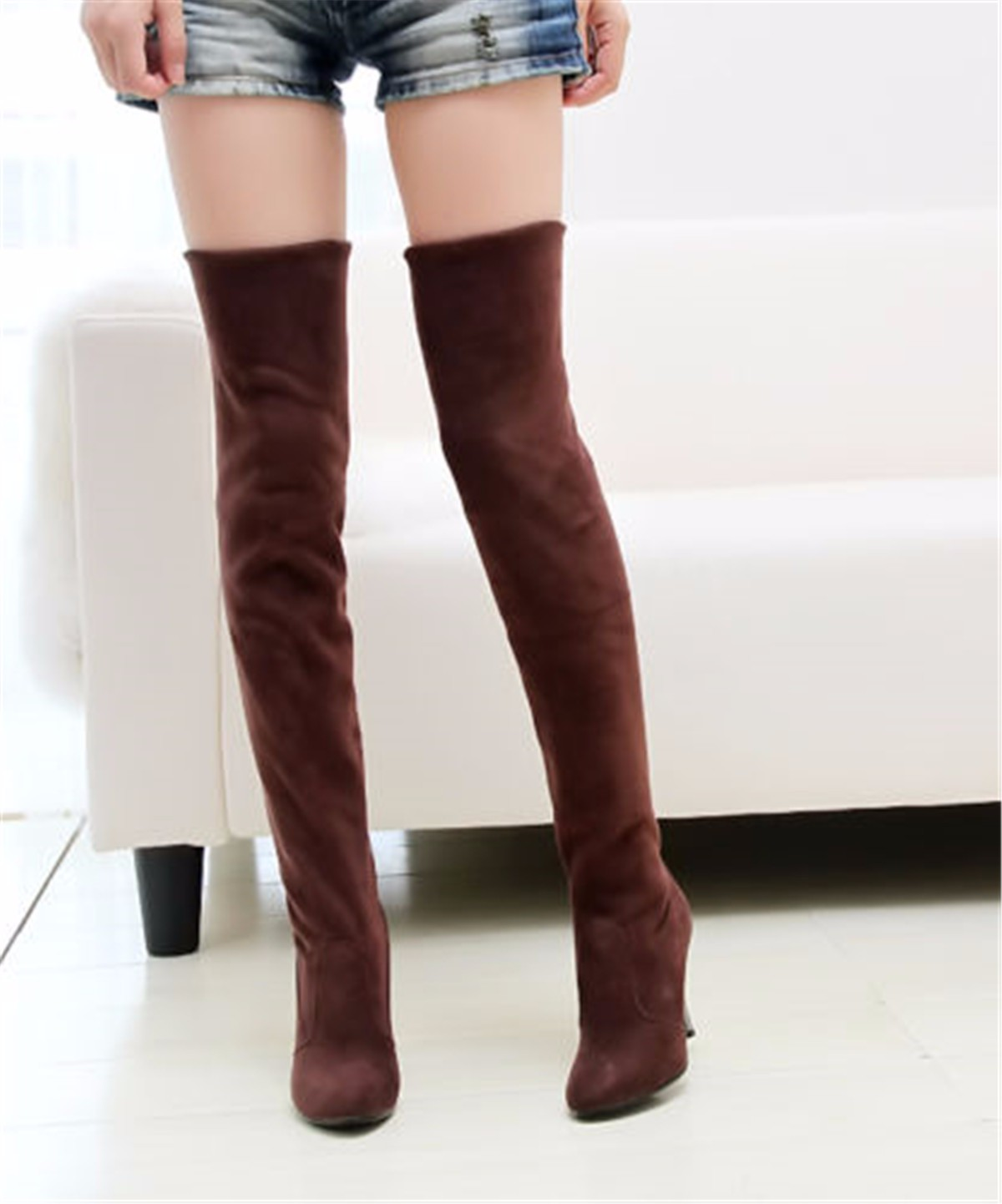 Sexy Women Over the Knee Long Boots Thigh High Heels Stiletto Suede Slouch Shoes