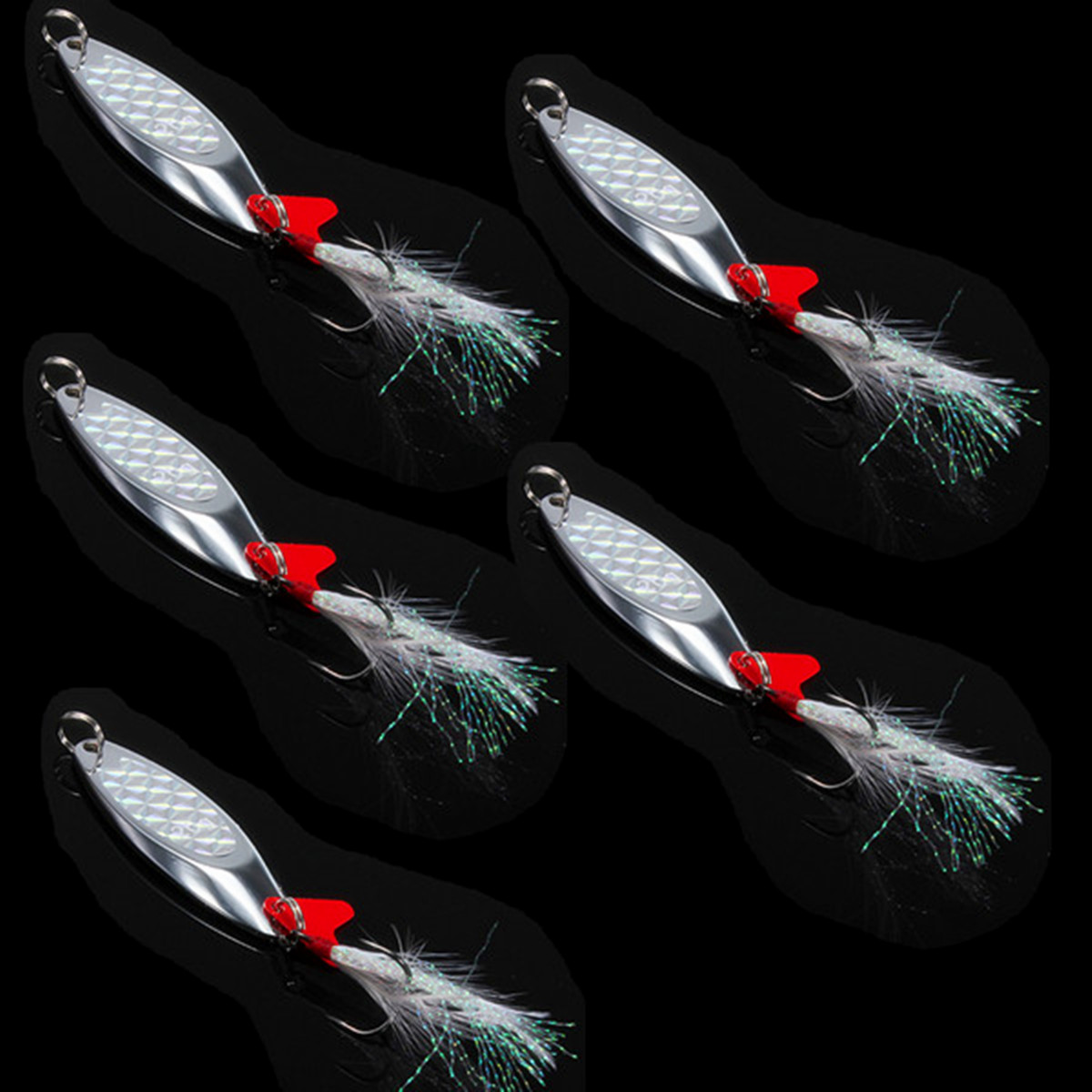 Lot metal fishing spoon lures feather treble hooks blade for Lot of fish